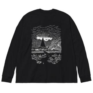 まばたくびの白い夢 Big silhouette long sleeve T-shirts