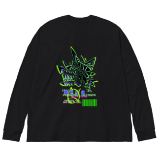 電脳銀狼-Fenrir System- Big silhouette long sleeve T-shirts