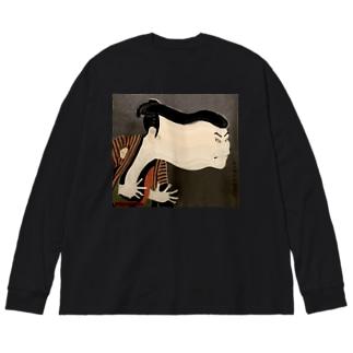 江戸兵衛 (front) Big silhouette long sleeve T-shirts