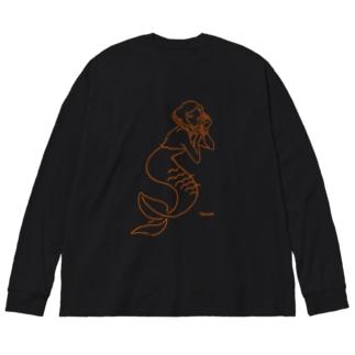 人魚 Big silhouette long sleeve T-shirts