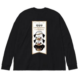 ロホホラわんわん(綴化) Big silhouette long sleeve T-shirts