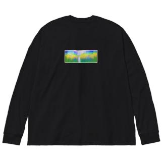 誰かと見た景色 ひまわり畑 Big silhouette long sleeve T-shirts