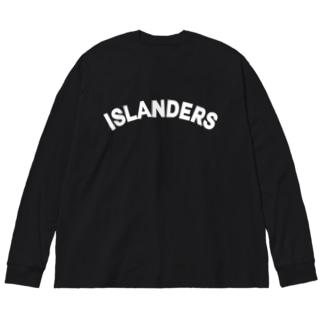 ISLANDERS白ロゴ Big silhouette long sleeve T-shirts