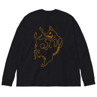 うらめしば 橙 Big silhouette long sleeve T-shirts