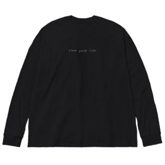 slow peak life 001 #BK 両面 Big silhouette long sleeve T-shirts