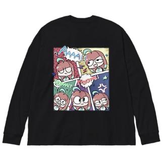 アメコミ風(ちょっとうすいカラー) Big silhouette long sleeve T-shirts