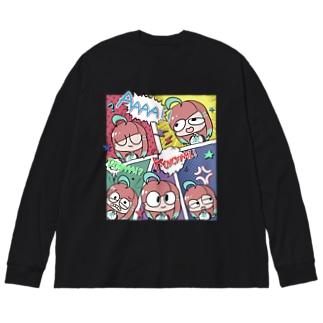 アメコミ風(ノーマルカラー) Big silhouette long sleeve T-shirts