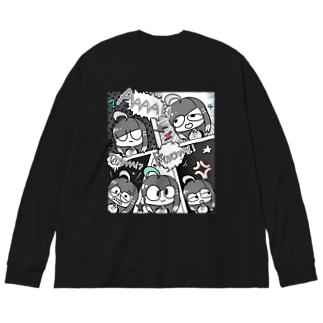 アメコミ風(モノクロカラー) Big silhouette long sleeve T-shirts