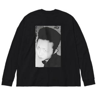 昭和の不良ガン飛ばしプリント Big silhouette long sleeve T-shirts