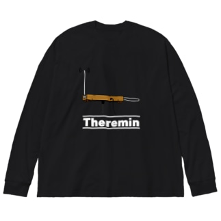 テルミン(白ロゴ) Big silhouette long sleeve T-shirts