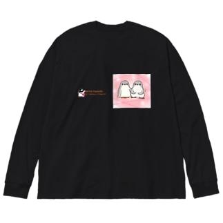 ふたごのジェンツーペンギン(キラキラロゴつき) Big silhouette long sleeve T-shirts