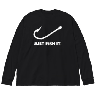 JUST FISH IT (白) Big silhouette long sleeve T-shirts