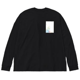 牛乳をつぐ女 Big silhouette long sleeve T-shirts