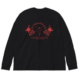 東京魂掴神倶楽部-赤- Big silhouette long sleeve T-shirts