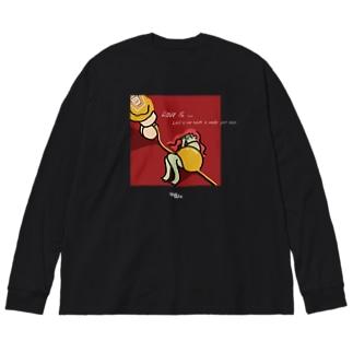愛は灯台下暗し Big silhouette long sleeve T-shirts