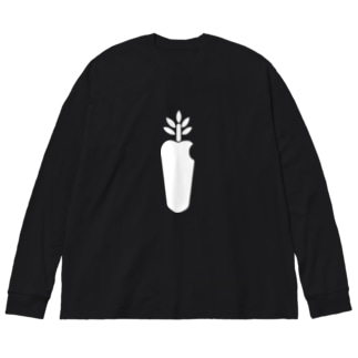 carrot computer(white) Big silhouette long sleeve T-shirts