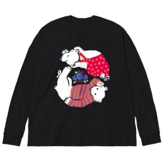 クマとクマがごろごろ Big silhouette long sleeve T-shirts