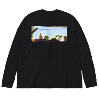 白文鳥のチマフミ Big silhouette long sleeve T-shirts