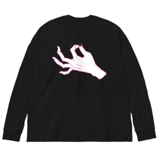 ZIP_ピンク線爪透過 Big silhouette long sleeve T-shirts