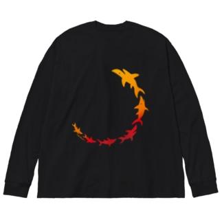 炎立つサメさん Big silhouette long sleeve T-shirts