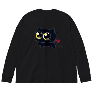 ミカヅキネコのおさんぽ Big silhouette long sleeve T-shirts