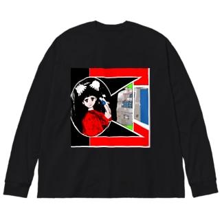 公衆電話 Big silhouette long sleeve T-shirts