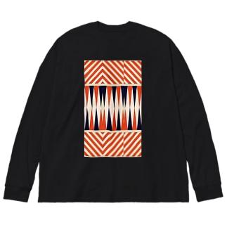 アヴァンなシマシマ2 Big silhouette long sleeve T-shirts