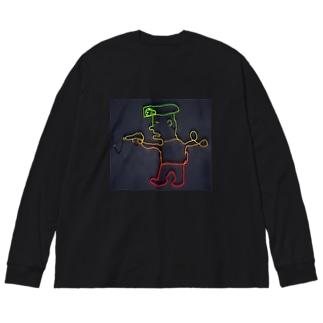 ネオンまさみポリス Big silhouette long sleeve T-shirts