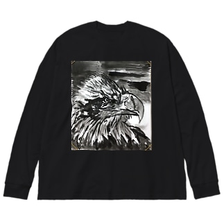 天空を司る鳥の王者【鷲】 Big silhouette long sleeve T-shirts