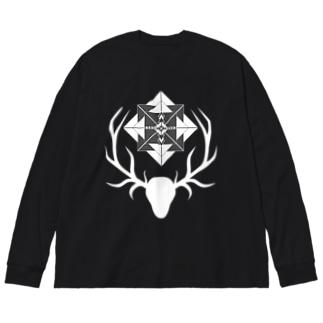 鹿と羅針盤(白) Big silhouette long sleeve T-shirts