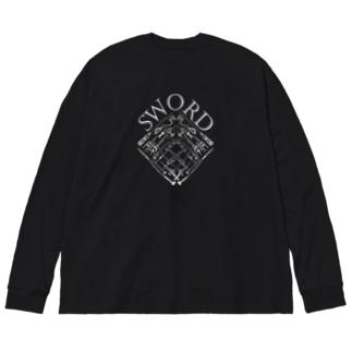 Sword (White) Big silhouette long sleeve T-shirts