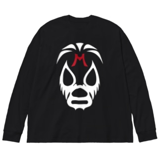 MIL MASC ARAS MASK-ミル・マスカラスマスク 白ロゴ Big silhouette long sleeve T-shirts
