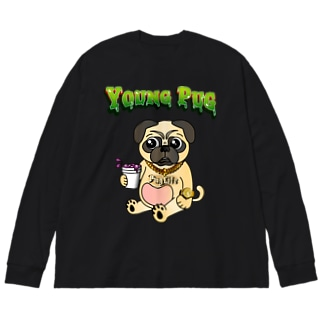 YOUNG PUG Big silhouette long sleeve T-shirts