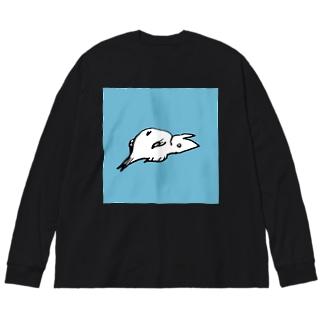 死んだ魚 Big silhouette long sleeve T-shirts