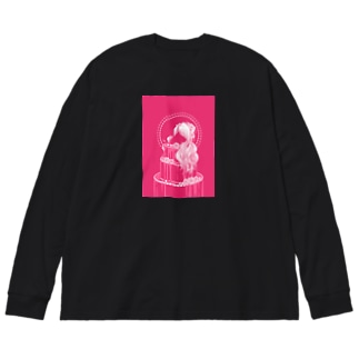 薔薇色 Big silhouette long sleeve T-shirts
