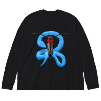 蛍と蛇(色違い) Big silhouette long sleeve T-shirts