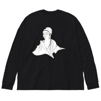 ブッダ 祈り Big silhouette long sleeve T-shirts
