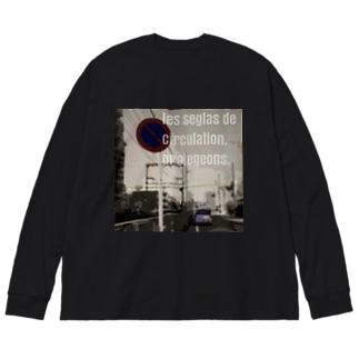 モノクロ Big silhouette long sleeve T-shirts