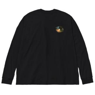 ラーメンだいすきくんカラフル Big silhouette long sleeve T-shirts
