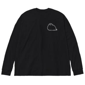 もちもちあざらし(まっしろ) Big silhouette long sleeve T-shirts