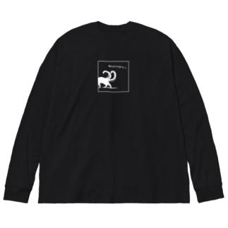 Catはソロソロ帰リまーs.(白) Big silhouette long sleeve T-shirts