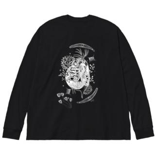 ミジンコなかま Big silhouette long sleeve T-shirts