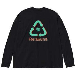 またまたのRe:sauna 黒 Big Silhouette Long Sleeve T-Shirt