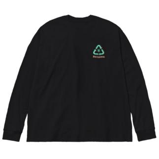 またまたのRe:sauna 黒 胸 Big Silhouette Long Sleeve T-Shirt