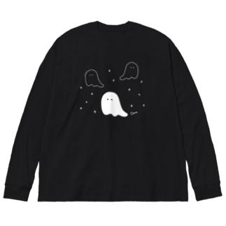 オバケちゃん (濃い色用) Big silhouette long sleeve T-shirts
