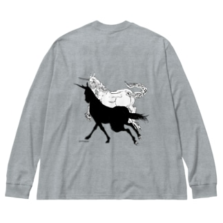 Monochrome Unicorn Big silhouette long sleeve T-shirts