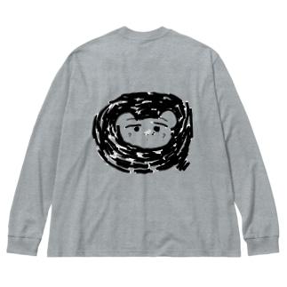 かなしそうな動物の・・・ Big silhouette long sleeve T-shirts