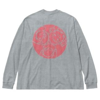 わーい!(ピンク) Big silhouette long sleeve T-shirts