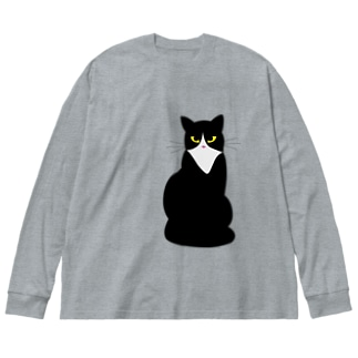 ハチワレねこ Big silhouette long sleeve T-shirts