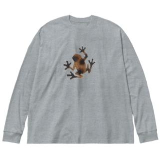 茶色いカエル Big silhouette long sleeve T-shirts